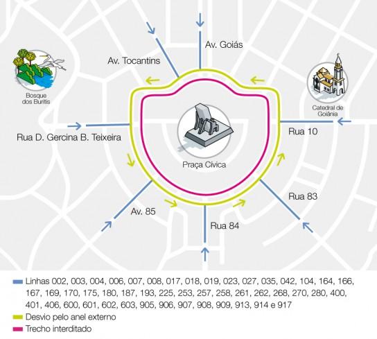 Mapa interdição Praça Cívica