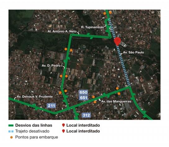 Pontos de parada próximos ao desvio da Av. São Paulo