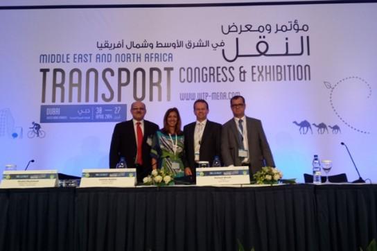 Diretor geral do Consórcio Rmtc (centro) ao lado dos demais palestrantes, Khaled Shammout, da Arábia Saudita, Stefania Di Serio, da Itália, e Richard Woods