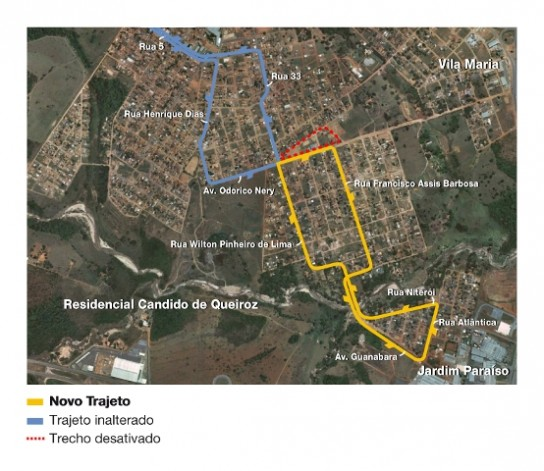 Mapa da linha 210